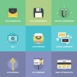 Iconos planos de la optimización del márketing y del web de Digitaces Imagenes de archivo