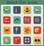 Iconos planos de la playa. Sistema del vector. Imagen de archivo libre de regalías