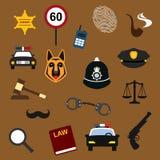 Iconos planos de la policía, de la ley y de la justicia fijados Imagenes de archivo