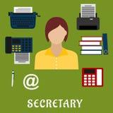 Iconos planos de la profesión de la secretaria o del ayudante Fotos de archivo libres de regalías