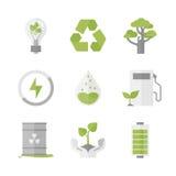 Iconos planos de la protección de la energía limpia y de la ecología fijados Imágenes de archivo libres de regalías