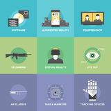 Iconos planos de la realidad virtual Foto de archivo