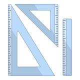 Iconos planos de la regla y de los triángulos en blanco stock de ilustración