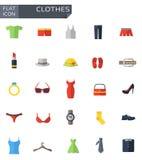 Iconos planos de la ropa del vector fijados Imagen de archivo libre de regalías