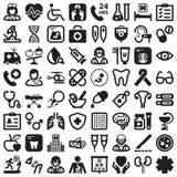 Iconos planos de la salud. Negro Fotografía de archivo