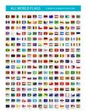 Iconos planos de la señal del vector todas las banderas Foto de archivo