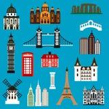 Iconos planos de la señal del World Travel Fotos de archivo