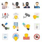 Iconos planos de la seguridad del banco fijados Fotografía de archivo libre de regalías