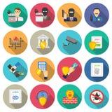 Iconos planos de la seguridad del banco fijados Imagen de archivo libre de regalías
