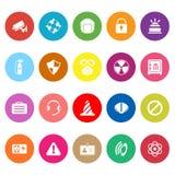 Iconos planos de la seguridad en el fondo blanco Imagen de archivo libre de regalías