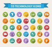 Iconos planos de la tecnología con la sombra larga Fotografía de archivo