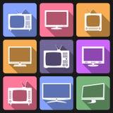 Iconos planos de la TV y del monitor Foto de archivo libre de regalías