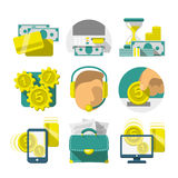 Iconos planos de las actividades bancarias
