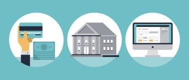 Iconos planos de las actividades bancarias en línea Imagen de archivo