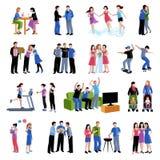 Iconos planos de las actividades de los compinches de los amigos fijados Imágenes de archivo libres de regalías