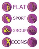 Iconos planos de las actividades del deporte stock de ilustración