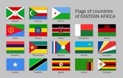 Iconos planos de las banderas del este de África fijados Imagen de archivo libre de regalías