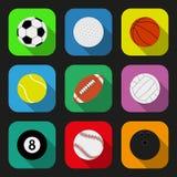 Iconos planos de las bolas del deporte fijados Foto de archivo