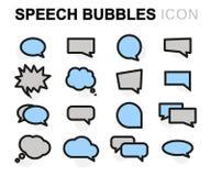 Iconos planos de las burbujas del discurso del vector fijados ilustración del vector