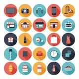 Iconos planos de las compras fijados