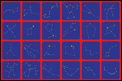 Iconos planos de las constelaciones Fotos de archivo libres de regalías