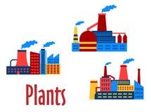 Iconos planos de las fábricas y de las plantas Imagen de archivo libre de regalías