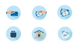 Iconos planos de las finanzas foto de archivo