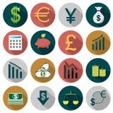 Iconos planos de las finanzas Imágenes de archivo libres de regalías