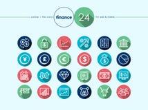 Iconos planos de las finanzas fijados Foto de archivo libre de regalías