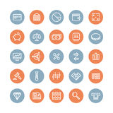 Iconos planos de las finanzas y del negocio fijados