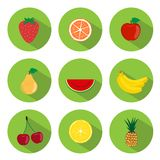 Iconos planos de las frutas Fotografía de archivo