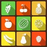 Iconos planos de las frutas y de las bayas Fotos de archivo libres de regalías