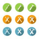 Iconos planos de las herramientas Imagen de archivo