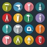 Iconos planos de las herramientas de funcionamiento Foto de archivo libre de regalías