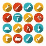 Iconos planos de las herramientas fijados Fotografía de archivo
