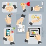 Iconos planos de las manos del negocio fijados Vector Foto de archivo libre de regalías