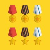 Iconos planos de las medallas Imágenes de archivo libres de regalías