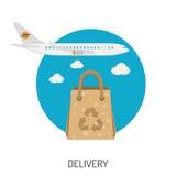 Iconos planos de las mercancías de la entrega Foto de archivo