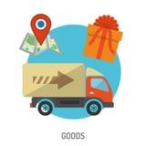 Iconos planos de las mercancías de la entrega Fotos de archivo libres de regalías