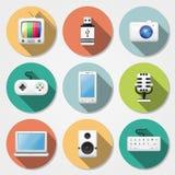 Iconos planos de las multimedias Fotos de archivo libres de regalías