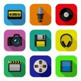 Iconos planos de las multimedias fijados Foto de archivo libre de regalías