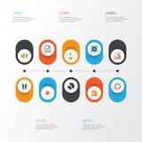 Iconos planos de las multimedias fijados Colección de botón Imagen de archivo