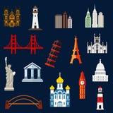 Iconos planos de las señales del World Travel Foto de archivo libre de regalías