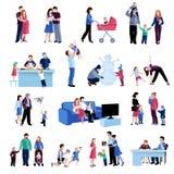 Iconos planos de las situaciones de la familia de la paternidad fijados stock de ilustración