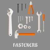 Iconos planos de las sujeciones y de las herramientas Fotografía de archivo libre de regalías