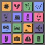Iconos planos de las vacaciones Foto de archivo libre de regalías