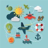 Iconos planos de las vacaciones de verano Imagen de archivo