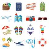 Iconos planos de las vacaciones y del turismo fijados Fotos de archivo libres de regalías