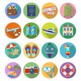 Iconos planos de las vacaciones y del turismo fijados Imagen de archivo libre de regalías