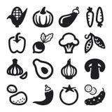 Iconos planos de las verduras. Negro Foto de archivo libre de regalías